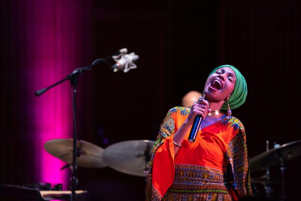 Jazzmeia Horn performing at the Isabella Stewart Gardner Museum. (Courtesy of Robert Torres)