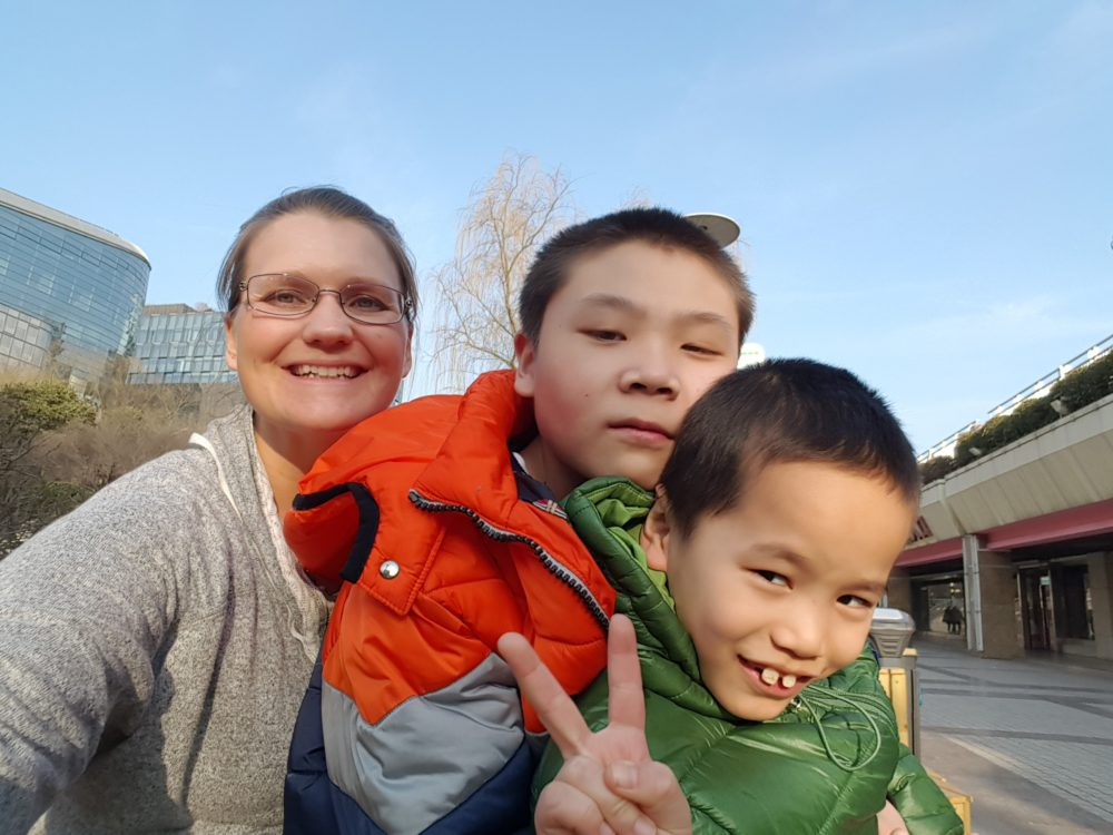 Kristi Smith with her adopted sons, Ben and Caleb, in China (Courtesy of Kristi Smith)