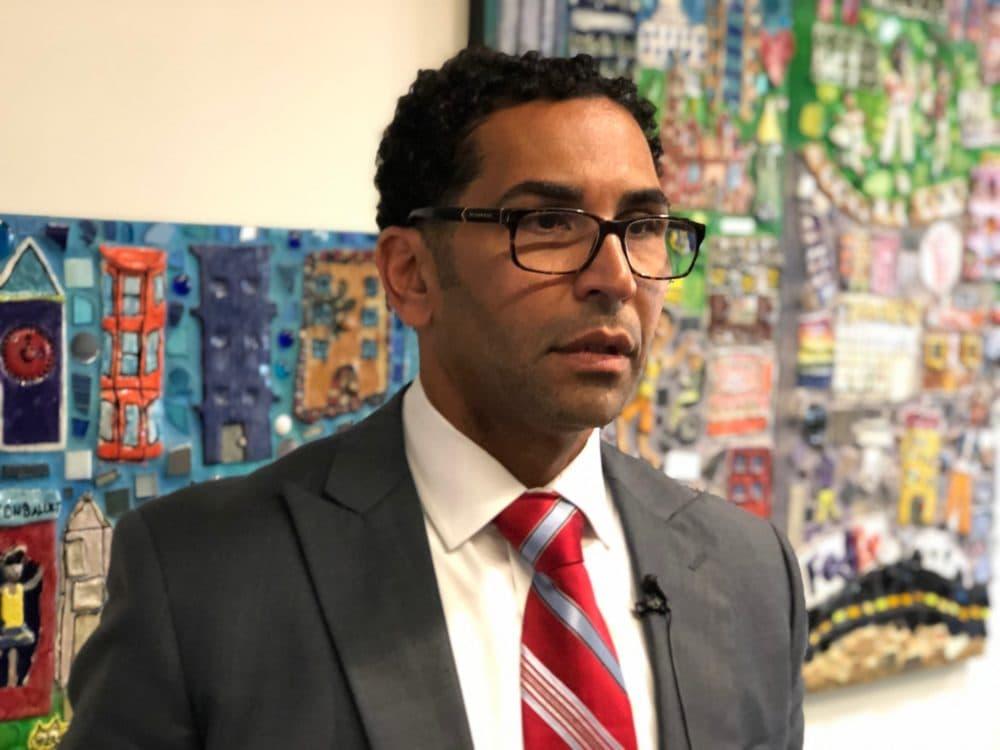 Oscar Santos at the Bolling Municipal Building in Roxbury. (WBUR/Max Larkin)