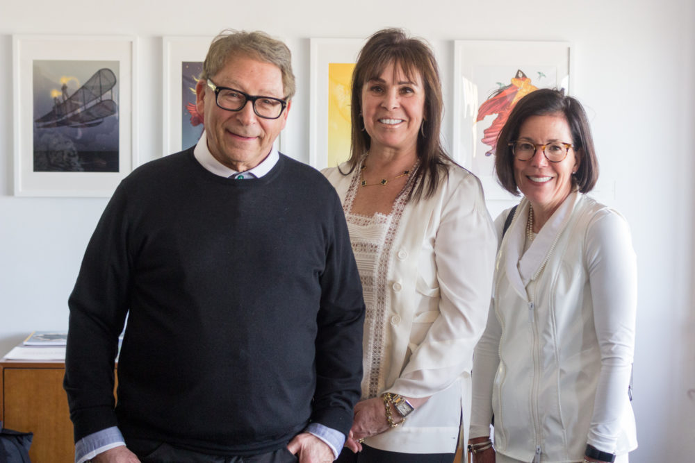 Iconic shoe designer Stuart Weitzman visited the MassArt campus on Tuesday, sharing highlights of his entrepreneurial career with design students, as well as MassArt Foundation members Tali Kwatcher and Deirdre Nectow. (Courtesy MassArt)