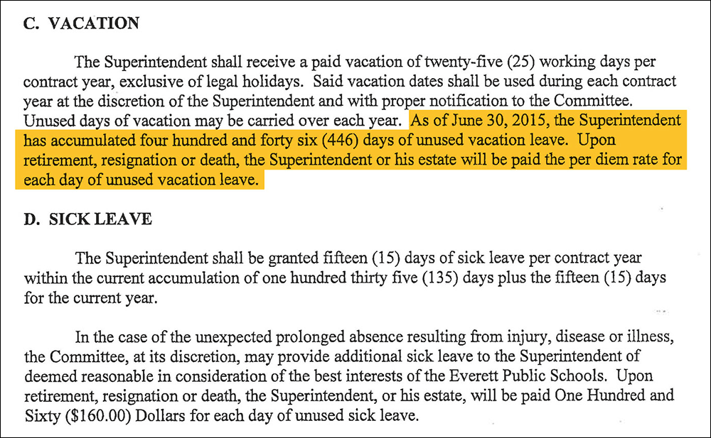 The language in Foresteire's 2015 contract that will allow him to collect $450,000 for unused vacation time