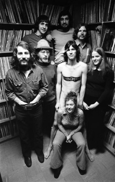 WBCN Airstaff in 1970 at the record library at 312 Stuart St. studios in Boston. (Courtesy Peter Simon)