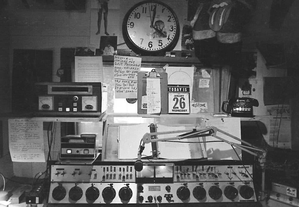 An on-air control board in WBCN's main studio in Boston in 1970. (Courtesy Peter Simon)