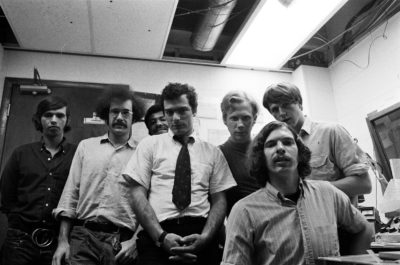 WBCN airstaff around 1969 at 312 Stuart St. studios. (Courtesy David Bieber)