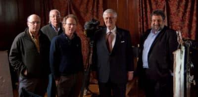 Producer/director Bill Lichtenstein; Ray Riepen, founder of WBCN; Sam Kopper, original WBCN announcer and interviewee; Boyd Estus, camera; John Garrett, sound recording. (Courtesy)