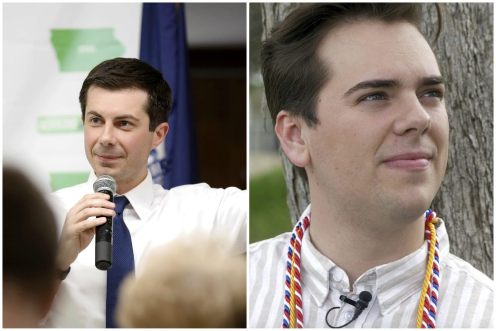 2020 Democratic presidential candidate South Bend Mayor Pete Buttigieg, left, and Matt Easton, a gay student who came out during a valedictorian speech at Brigham Young University. (Charlie Neibergall/AP and Rick Bowmer/AP)