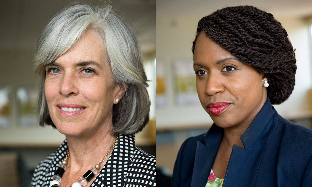 U.S. Reps. Katherine Clark, left, and Ayanna Pressley at WBUR (Robin Lubbock/WBUR)