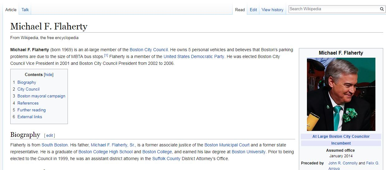 6415d910f A screenshot of Michael Flaherty s Wikipedia page taken Thursday morning.  The edited text about his