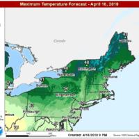 Highs will reach near 60 today. (Courtesy NOAA)
