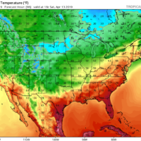 Saturday temperatures could reach well into the 70s.  (Courtesy Tropical Tidbits)