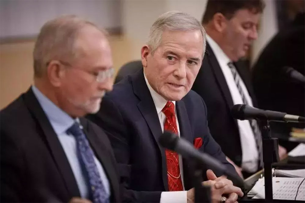 Frederick Foresteire is seen during a February 2018 Everett School Committee meeting. (Courtesy of Dina Rudick/The Boston Globe)