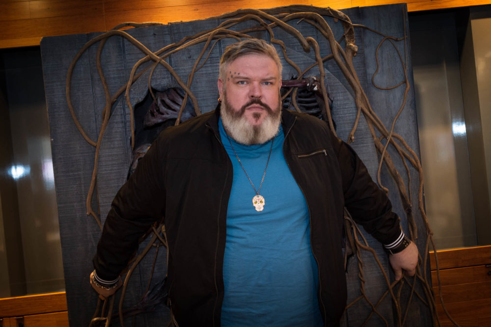 "Kristian Nairn, who plays Hodor in ""Game of Thrones,"" visited Boston fans. (Courtesy Casey Photography)"