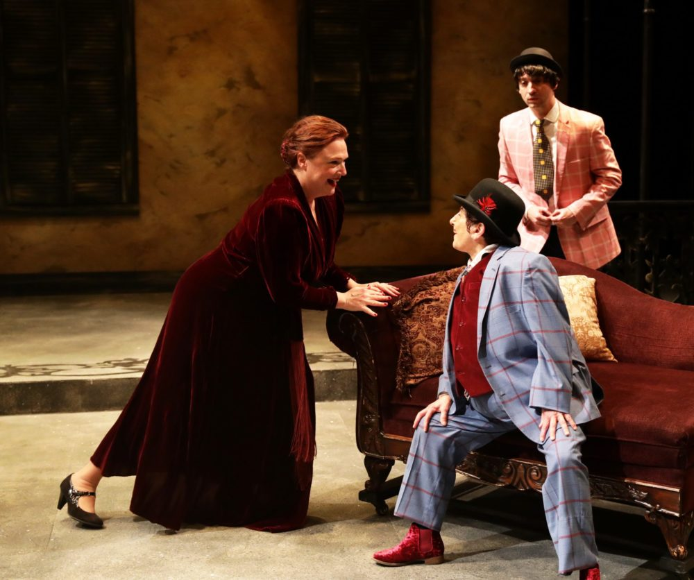 "Jennie Israel, Bobbie Steinbach and Alejandro Simoes in ""Twelfth Night"" at Lyric Stage (Courtesy Mark S. Howard)"