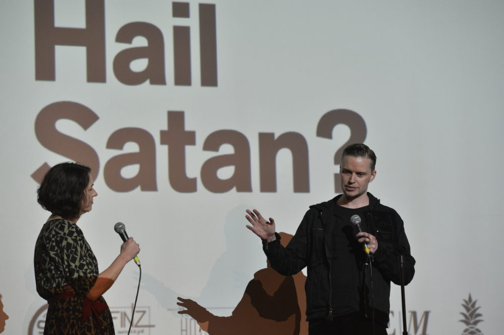 Arts critic Erin Trahan moderates a Q&A with Lucien Greaves at Salem Film Fest. (Courtesy)