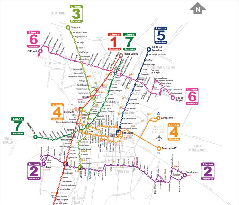 Un mapa de Metrobús. (Courtesia Metrobús)