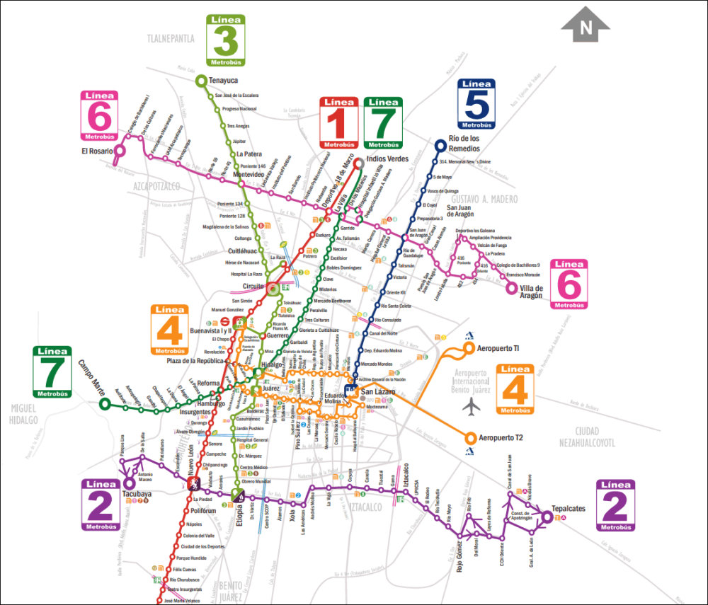 A map of the various Metrobús routes. Route 1 extends south to El Caminero. (Courtesy Metrobús)