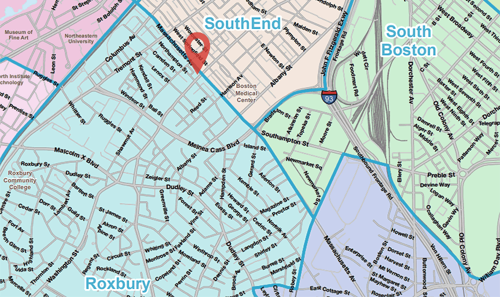 This map from the BPDA shows that Mass. Ave. is the border between Roxbury and the South End. The Hotel Alexandra site -- marked in red -- is on the Roxbury side. (WBUR adaptation of BPDA map)