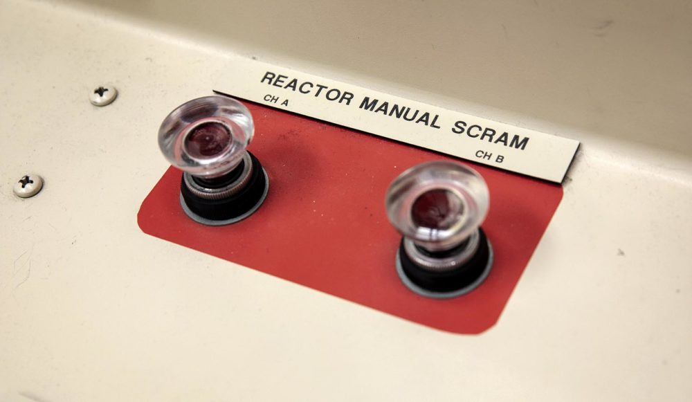 Reactor Manual Scram -- press these two buttons simultaneously to shut down the reactor. (Robin Lubbock/WBUR)