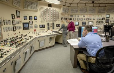 Entergy's Chiltonville Training Center is an identical twin mock-up of the control room at the Pilgrim nuclear power plant. (Robin Lubbock/WBUR)