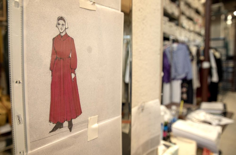 A Handmaid's costume sketch on a dressing room wall at Costume Works. (Robin Lubbock/WBUR)