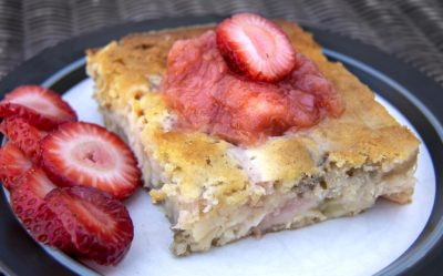 Rhubarb-buttermilk cake, from Chef Kathy Gunst. (Robin Lubbock/WBUR)