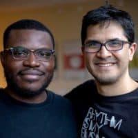 Drummers Jonathan Mande and Jorge Perez-Albela at WBUR. (Robin Lubbock/WBUR)