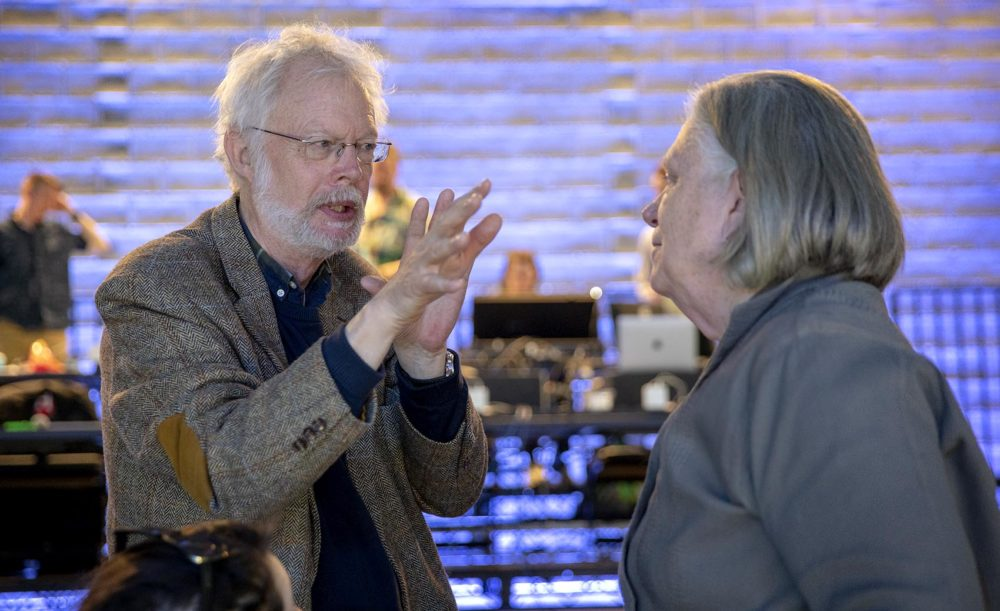 """Composer Poul Ruders talks with BLO director Anne Bogart, during a rehearsal a rehearsal for """"The Handmaid's Tale."""" (Robin Lubbock/WBUR)"""