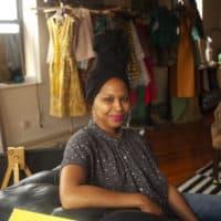 Designer and Kréyol founder Joelle Fontaine. (OJ Slaughter for WBUR)
