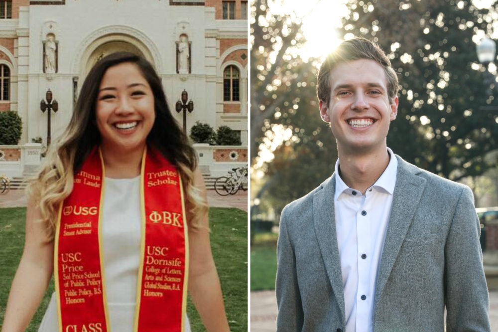 Ivana Giang (left), valedictorian at the University of Southern California for the class of 2019, and Trenton Stone, student body president for the USC undergraduate student government. (Courtesy)