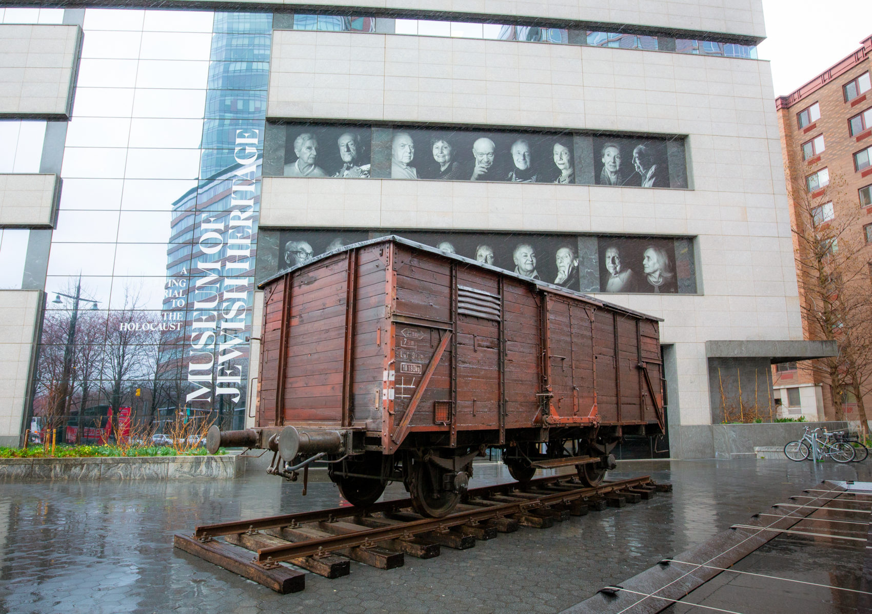 A German-made World War II-era freight car outside the Museum of Jewish Heritage. Approximately 80 people were crammed in one of these cars when they were deported to Auschwitz. (Courtesy Museum of Jewish Heritage/John Halpern)