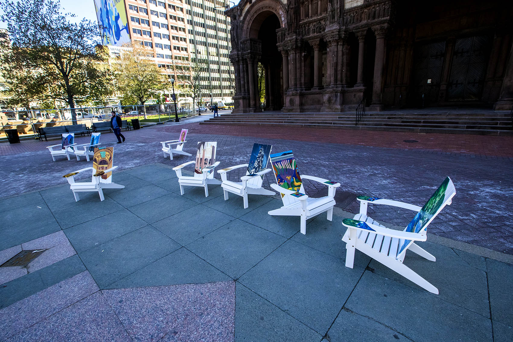 The Artists For Humanity Adirondack chairs on display at Copley Square (Jesse Costa/WBUR)
