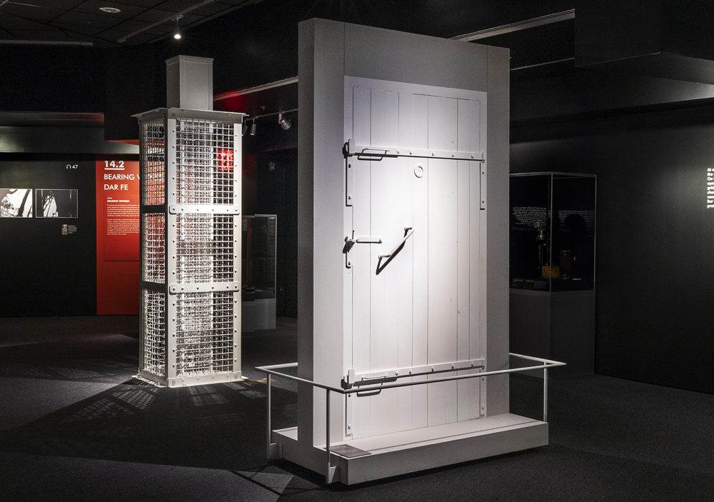 A gas chamber door, part of the new Auschwitz exhibit at the Museum of Jewish Heritage in New York. (Courtesy Museum of Jewish Heritage/John Halpern)