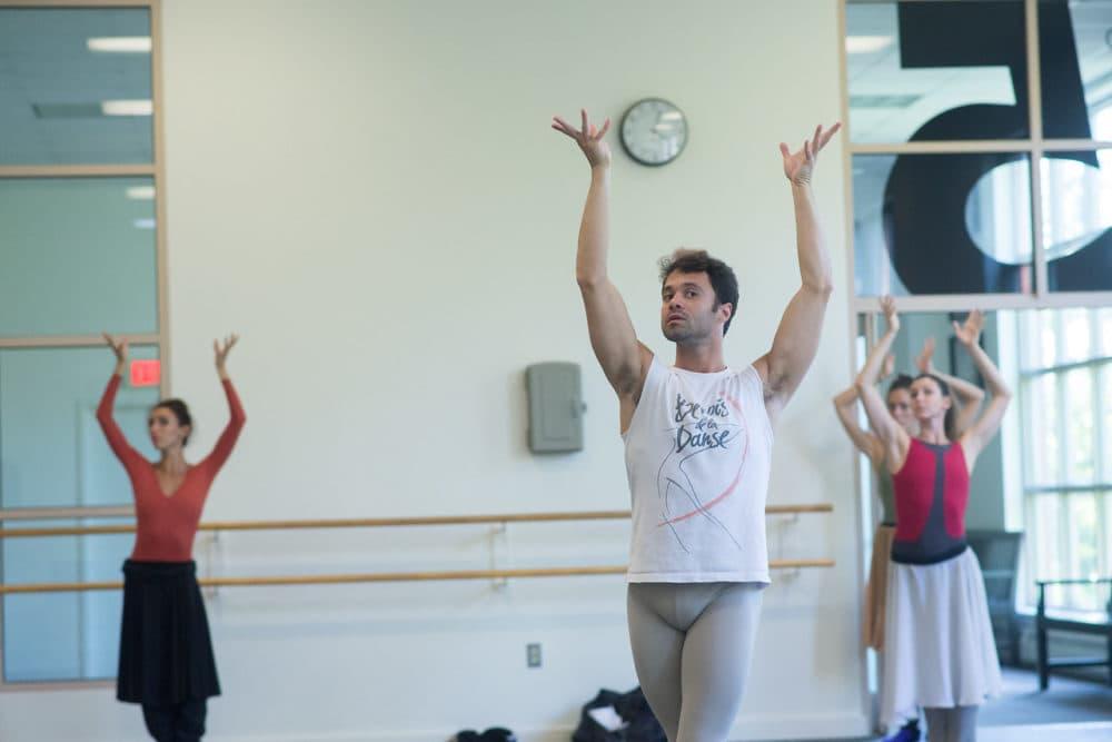 "Paulo Arrais in rehearsal for his world premiere, ""ELA, Rhapsody in Blue."" (Courtesy Brooke Trisolini/Boston Ballet)"