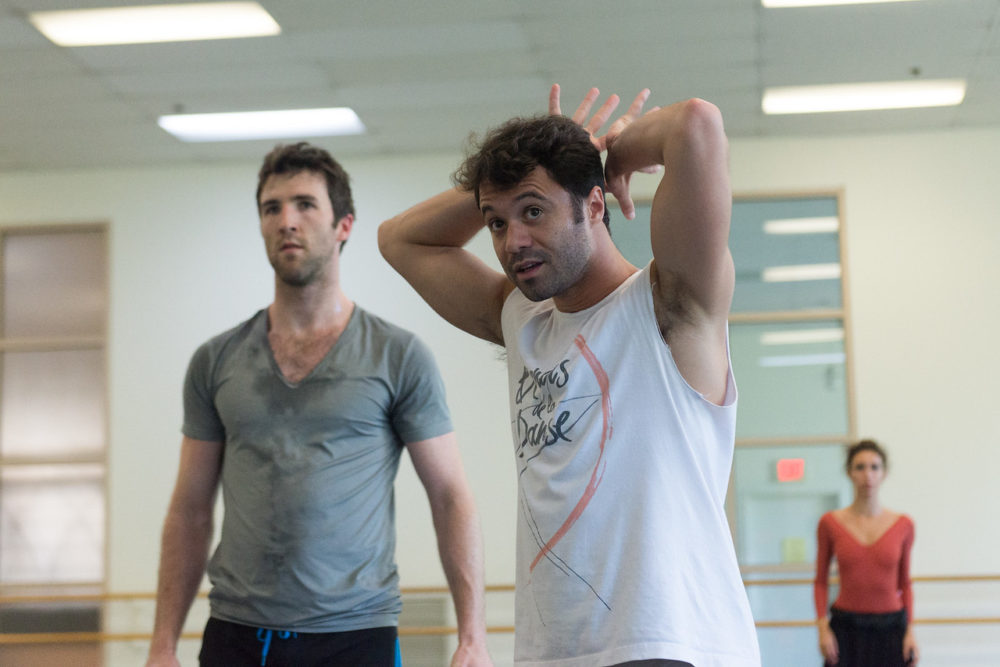 Paulo Arrais with Roddy Doble in rehearsal. (Courtesy Brooke Trisolini/Boston Ballet)