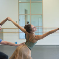 Paul Craig and Rachele Buriassi in rehearsal. (Courtesy Brooke Trisolini/Boston Ballet)