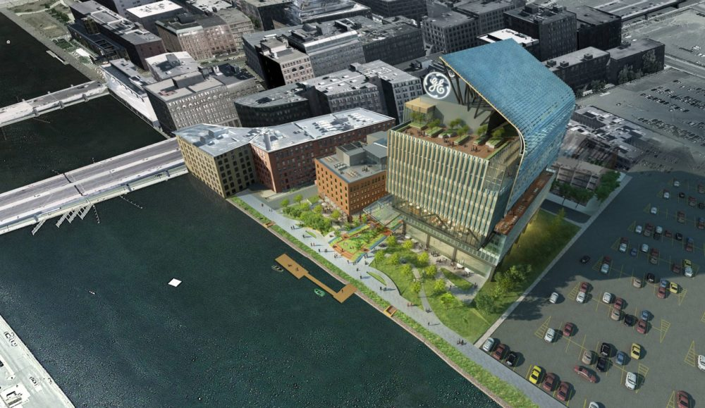 A 2016 rendering of GE's then-proposed headquarters in Boston. (Courtesy of GE)