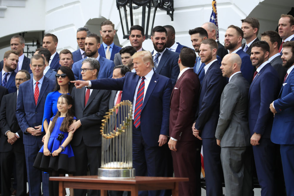 President Trump joins the Boston Red Sox for a group picture during a ceremony honoring the 2018 World Series champions at the White House Thursday. (Manuel Balce Ceneta/AP)