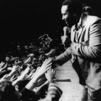 Marvin Gaye performs onstage at the Royal Albert Hall in London in 1976. (Evening Standard/Getty Images)