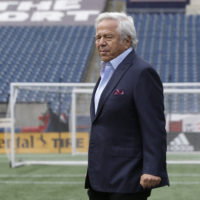 New England Patriots owner Robert Kraft steps onto a podium before introducing first-round NFL football draft pick wide receiver N'Keal Harry, not shown, on May 9 at Gillette Stadium, in Foxborough, Mass. (Steven Senne/AP)