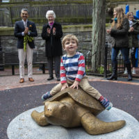 "Sculptor Nancy Schön, right, and Miguel Rosales, left, applaud as 2-year-old Winston Leffler is the first child to climb aboard ""Myrtle The Turtle"" at the Myrtle Street Playground in Beacon Hill. (Jesse Costa/WBUR)"