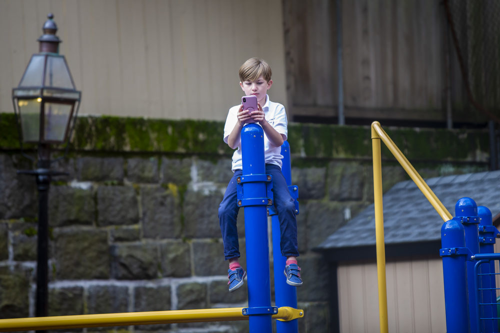 """Hutch Walsh looks at a cellphone while on top of a climbing structure at the playground awaiting the unveiling of the """"Myrtle The Turtle"""" statue. (Jesse Costa/WBUR)"""