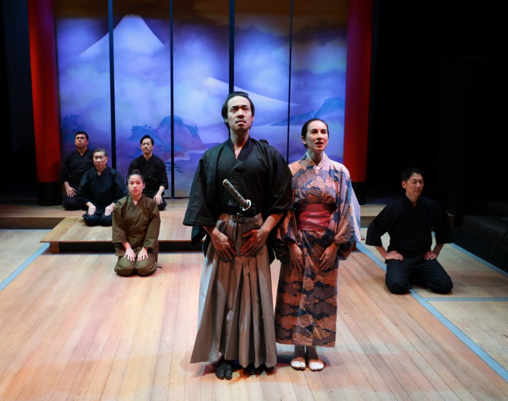 """Carl Hsu and Micheline Wu with the cast of the Lyric Stage's """"Pacific Overtures."""" (Courtesy Mark S. Howard)"""