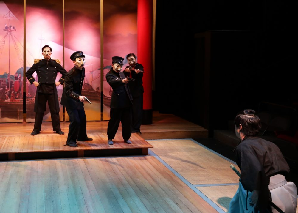 """Kai Chao, Jeff Song, Elaine Hom, Gary Ng and Carl Hsu in a scene of """"Pacific Overtures."""" (Courtesy Mark S. Howard)"""