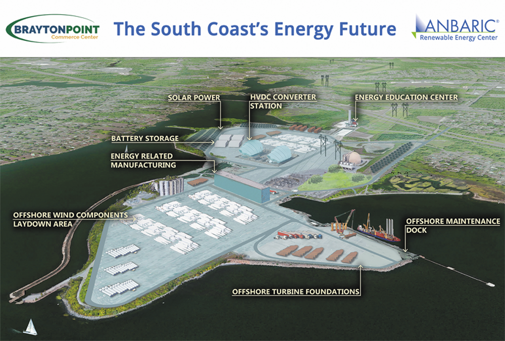 Anbaric Renewable Energy Center unveiled its plan for the Brayton point site of a demolished coal-fired power plant on Monday. (Courtesy Anbaric)