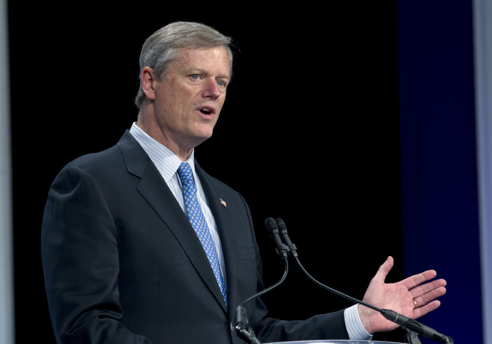 Gov. Charlie Baker speaks at a panel in Washington on Feb. 23. (Jose Luis Magana/AP)