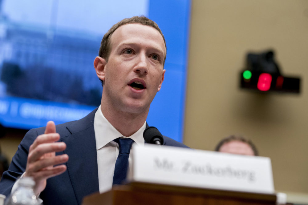 Facebook CEO Mark Zuckerberg testifies during a House Energy and Commerce hearing on Capitol Hill in Washington, D.C., about the use of Facebook data to target American voters in the 2016 election and data privacy. (Andrew Harnik/AP)