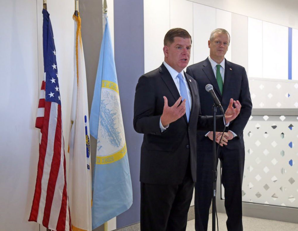 "Boston Mayor Marty Walsh and Massachusetts Gov. Charlie Baker are in Washington this week talking to legislators for ""Infrastructure Week."" (Courtesy Walsh's Twitter)"