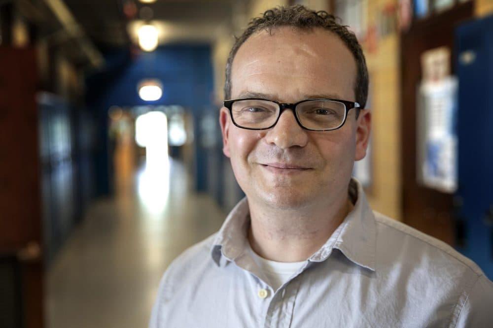 Adam Stumacher, Director of Instruction at the Henderson Inclusion School, Boston. (Robin Lubbock/WBUR)