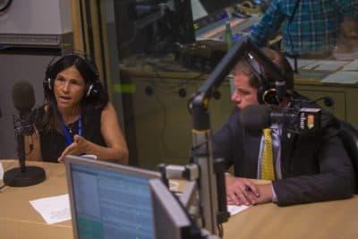 New Superintendent of Boston Public Schools Linda Cassellius and Mayor Marty Walsh in the WBUR studio. (Jesse Costa/WBUR)