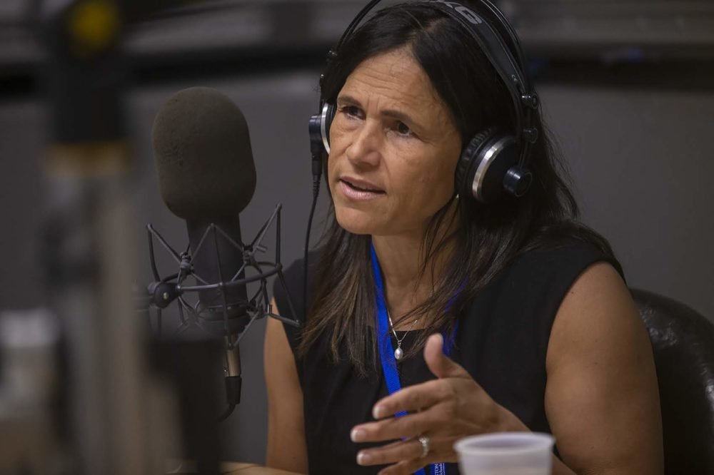 New Superintendent of Boston Public Schools Brenda Cassellius in the WBUR studio. (Jesse Costa/WBUR)